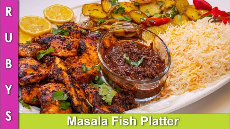 Masala, Fish, Aloo, & Rice Platter Masaledar Machli Recipe in Urdu Hindi  - RKK