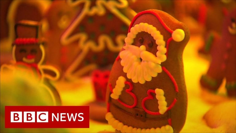 Gingerbread village lights up for Christmas - BBC News