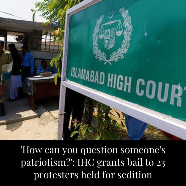 The Islamabad High Court on Monday granted post-arrest bail to activists who had... 3