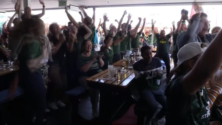 Fans in Cape Town celebrate South Africa's Rugby World Cup win