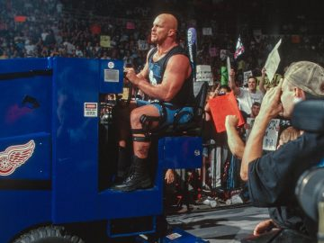 """Stone Cold"" Steve Austin drives a zamboni to the ring"