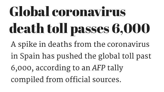 The worldwide death toll rose to 6,036, with 159,844 infections after 105 died i... 3