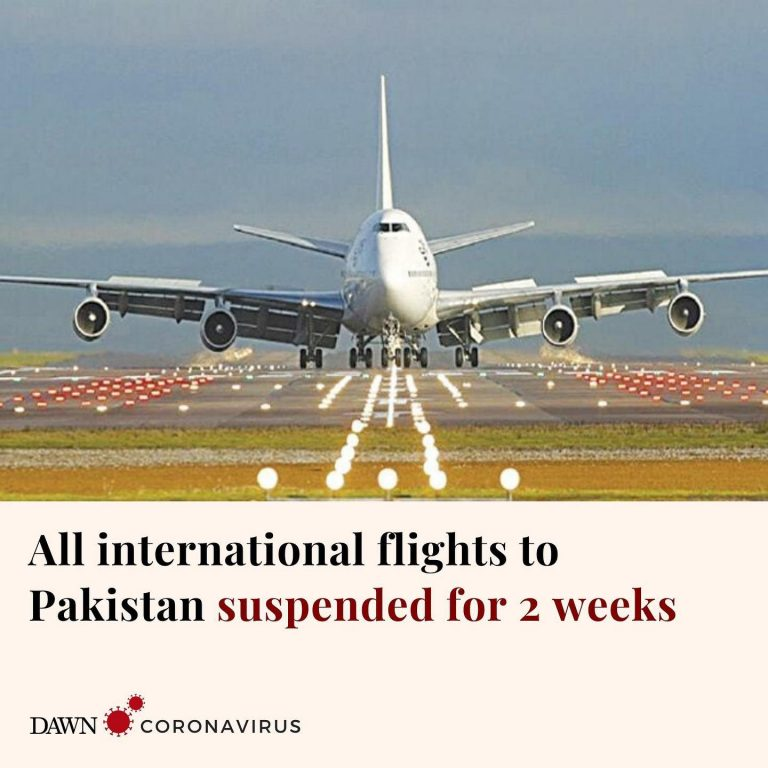 The government has suspended all international flights coming into Pakistan for ... 3