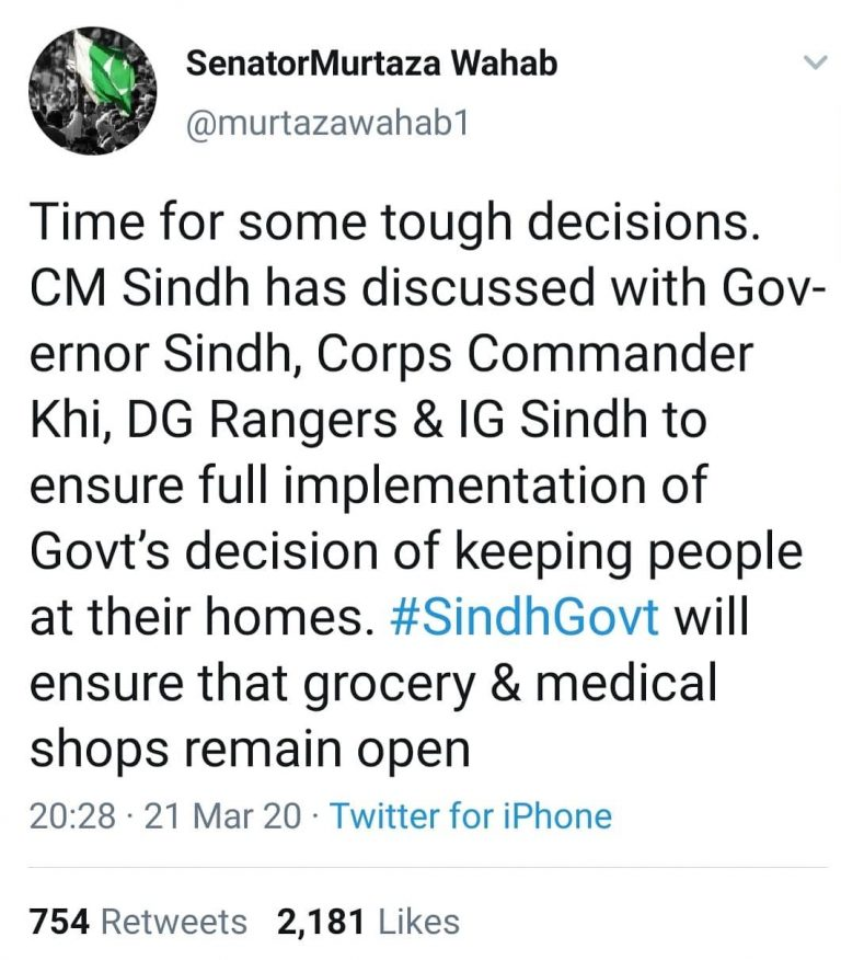 Murtaza Wahab tweeted earlier today that CM Sindh has instructed law enforcement... 3