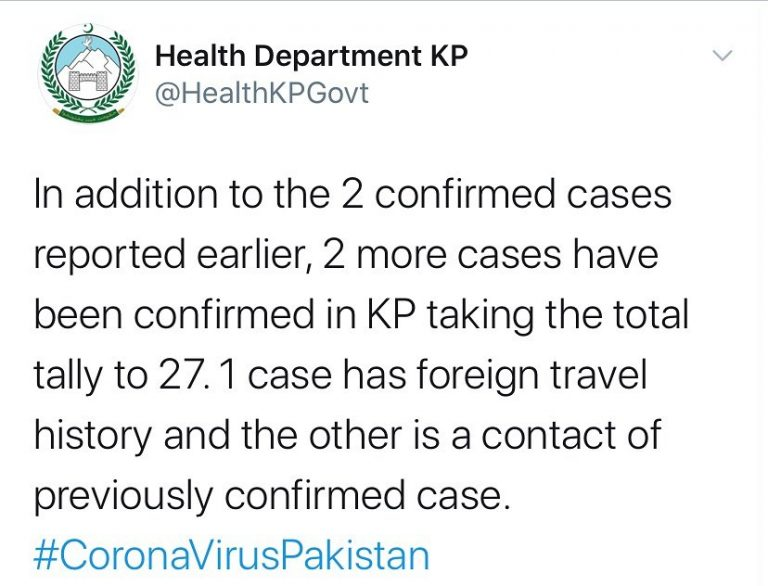 Two new cases have been confirmed in Khyber Pakhtunkhwa, taking the provincial t... 3