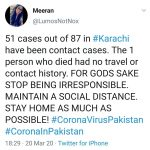 11 new coronavirus cases have been confirmed in Karachi, a spokesperson for the ... 6