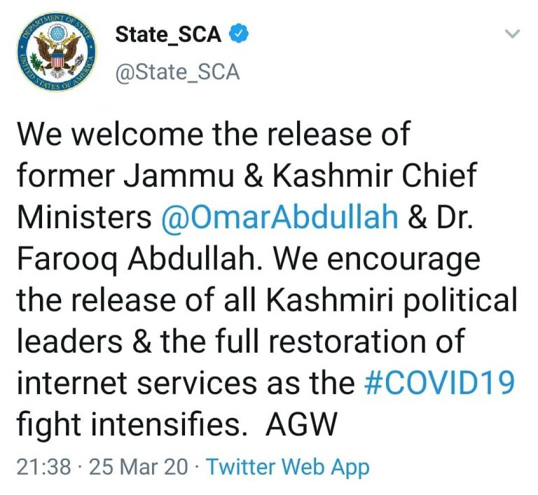 The US government has welcomed the release of Omar Abdullah and Farooq Abdullah.... 3