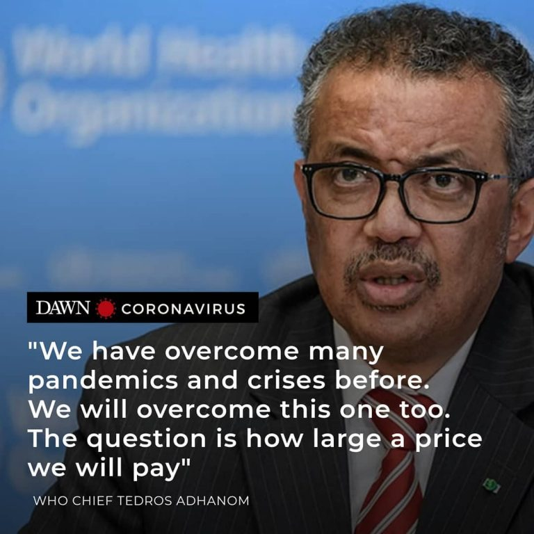 We will overcome this — question is how large a price we will pay, said the WHO ... 1