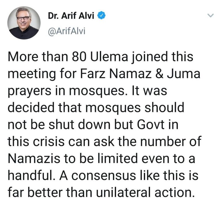 Consensus is better than unilateral action, tweeted President Arif Alvi, after a... 1
