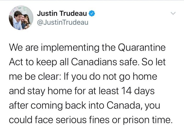 Failing to self-quarantine after arrival in Canada can land you in jail, said PM... 3