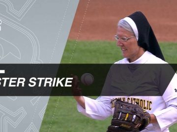 Sister Mary Sobieck throws a perfect first pitch