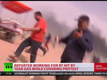 Reporter working for RT hit by tear gas while covering protests in Gaza