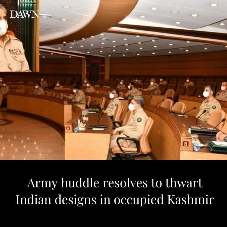 "The military's top brass on Wednesday resolved to ""continue thwarting Indian des... 3"