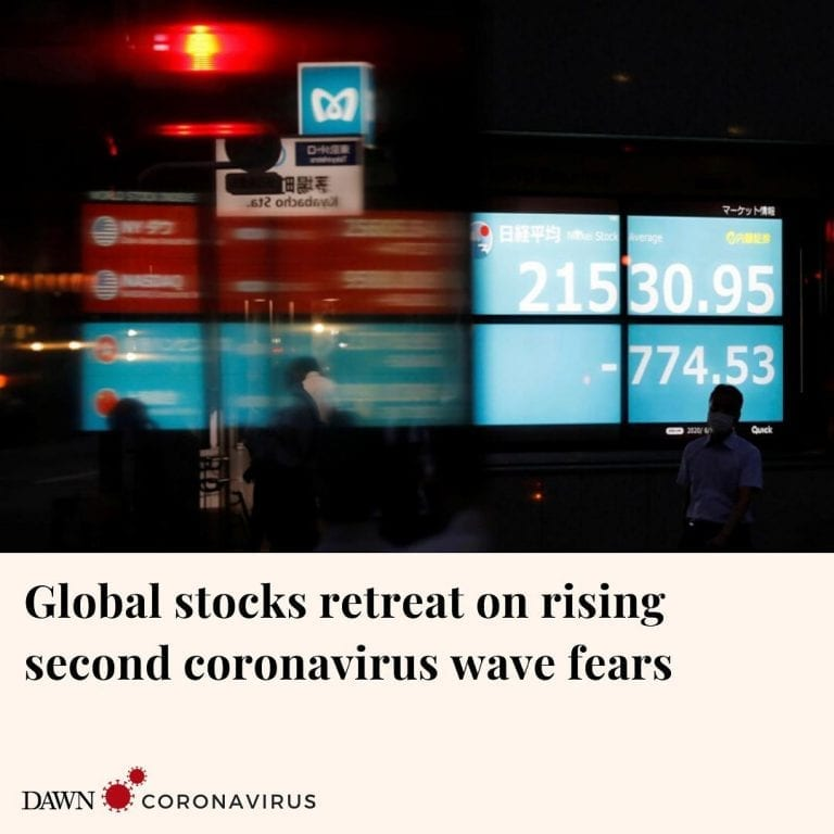 Asian stocks and Wall Street futures fell as spiking coronavirus cases in some U... 3