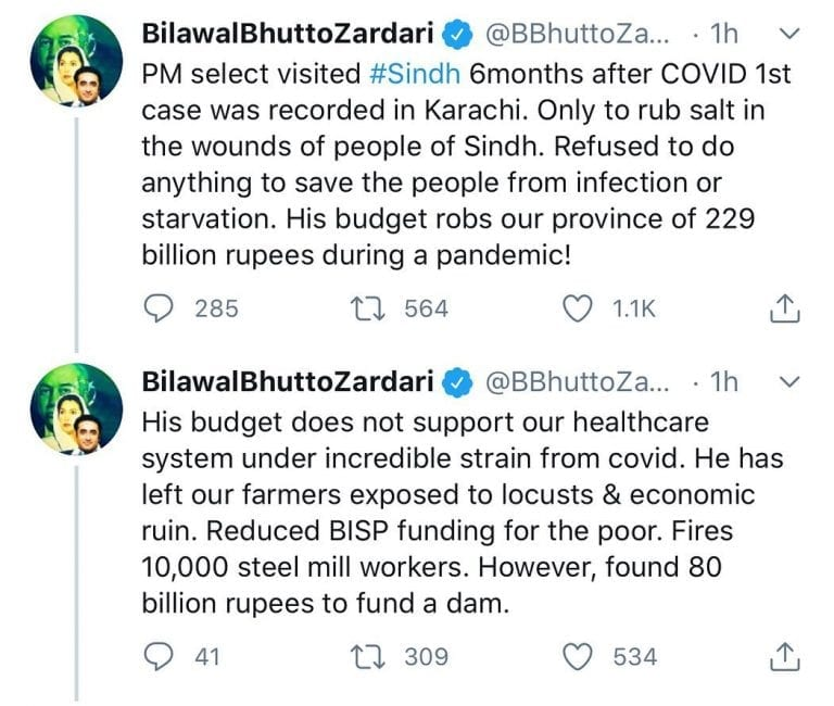 Commenting on the premier's visit to Sindh, PPP Chairperson Bilawal Bhutto-Zarda... 3