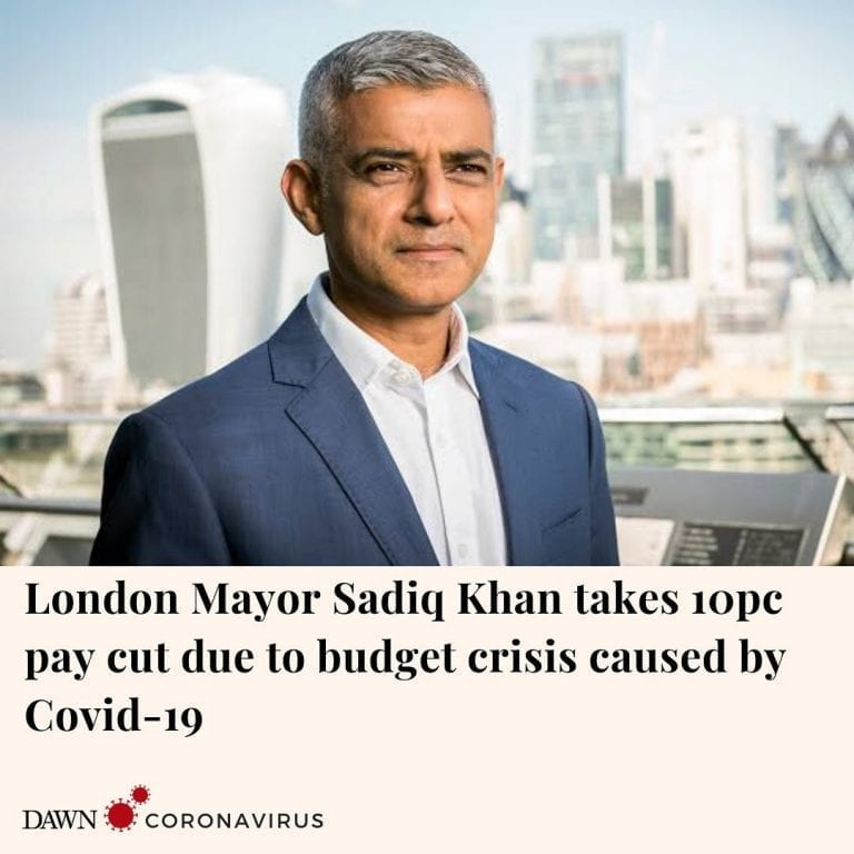 London's mayor Sadiq Khan announced on Wednesday that he will take a 10 percent ... 3