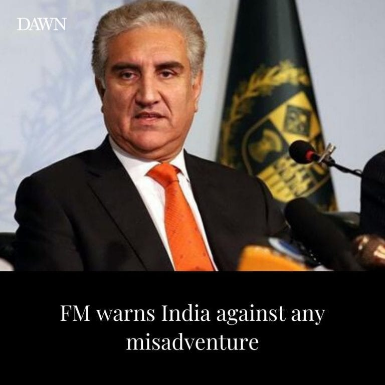 Foreign Minister Shah Mehmood Qureshi on Friday warned India against any misadve... 3