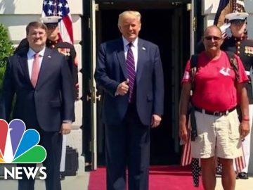 Watch: Trump Greets Walking Marine Terry Sharpe At White House | NBC News NOW