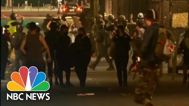 Tear Gas, Flash-Bangs And Fireworks Thrown On Another Violent Night In Portland | NBC News NOW