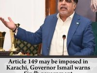 #Article149 may be imposed in #Karachi, Governor Ismail warns #Sindh government ... 16