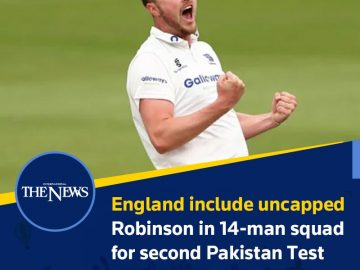 #England include uncapped #Robinson in 14-man squad for second #Pakistan Test  D... 8