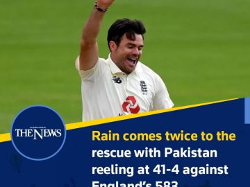 #Rain comes twice to the rescue with #Pakistan reeling at 41-4 against #England'... 6