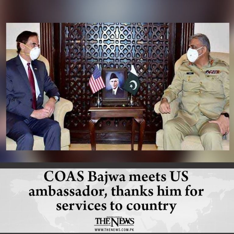 #COAS Bajwa meets US ambassador, thanks him for services to country Details: ... 3