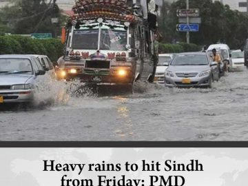 Heavy rains to hit #Sindh from Friday: #PMD Details: #TheNews 16