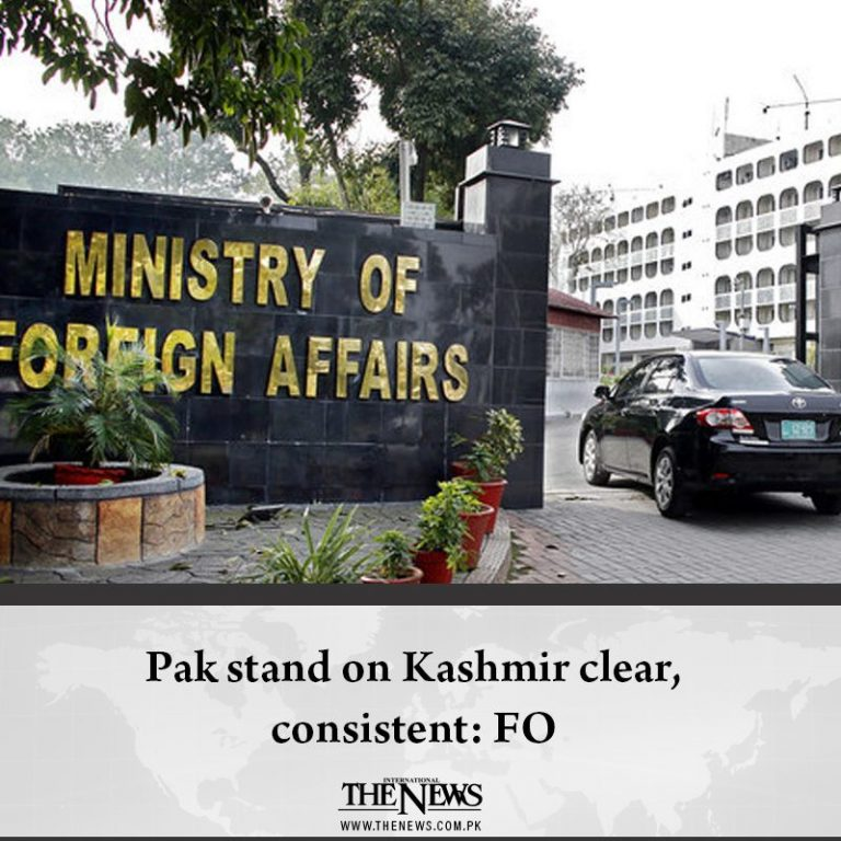 #Pak stand on #Kashmir clear, consistent: FO Details: #TheNews 3