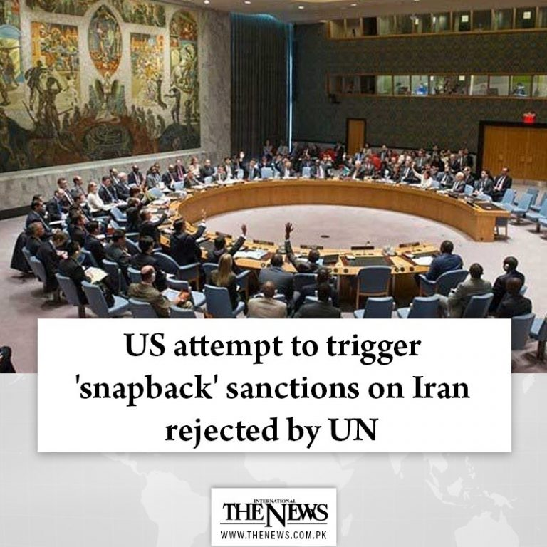 #US attempt to trigger '#snapback' sanctions on Iran rejected by #UN Read more:... 3