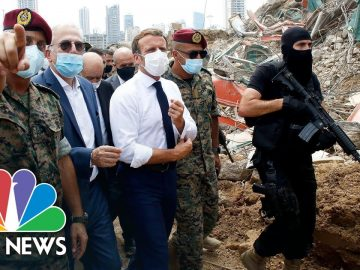 President Macron Tours Site Of Devastating Beirut Explosion | NBC News NOW