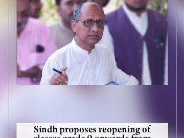 #Sindh proposes reopening of classes grade 9 onwards from Sept 15: #SaeedGhani. ... 3