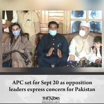 #APC set for Sept 20 as opposition leaders express concern for #Pakistan  Detail... 3