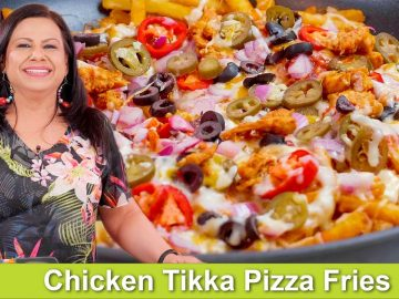 Chicken Tikka Pizza Fries Recipe in Urdu Hindi - RKK