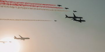 An Air show marked the start of the 90th Saudi National Day celebrations. 13