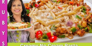 Creamy No Cream Pasta with Chicken Platter Recipe in Urdu Hindi - RKK