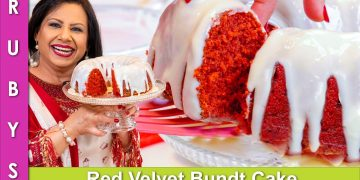 Red Velvet Bundt Cake with Cream Cheese Frosting Recipe in Urdu Hindi - RKK