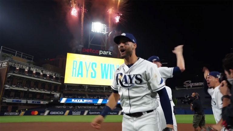 On-the-field view of the Rays celebrating their World Series berth!