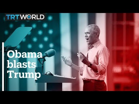 Obama blasts Trump record in Biden campaign trail debut