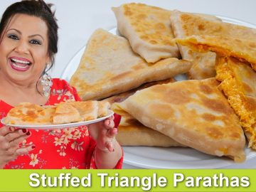 Stuffed Chicken Triangle Parathas Recipe in Urdu Hindi - RKK