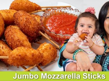 My 6 Month Old Granddaughter Tries my Jumbo Mozzarella Sticks Recipe in Urdu Hindi - RKK