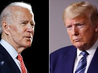 US President Donald Trump and Democratic presidential nominee Joe Biden participate in their final 2020 U.S. presidential campaign debate at Belmont University in Nashville, 6