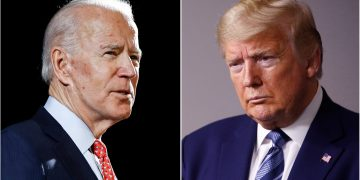US President Donald Trump and Democratic presidential nominee Joe Biden participate in their final 2020 U.S. presidential campaign debate at Belmont University in Nashville, 55