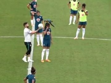Training session gets interrupted after parrot sits on player's head: Brazil 12