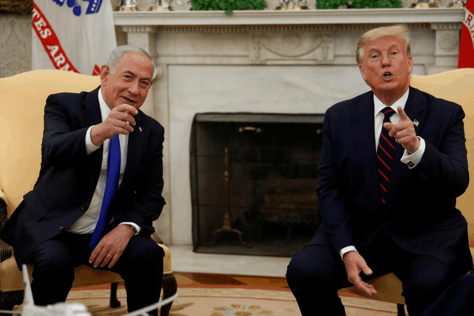 Israel's Prime Minister Benjamin Netanyahu meets with President Donald Trump prior to signing the Abraham Accords, normalizing relations between Israel and some of its Middle East neighbors in a strategic realignment of Middle Eastern countries against Iran, during a meeting in Washington, September 15, 2020.