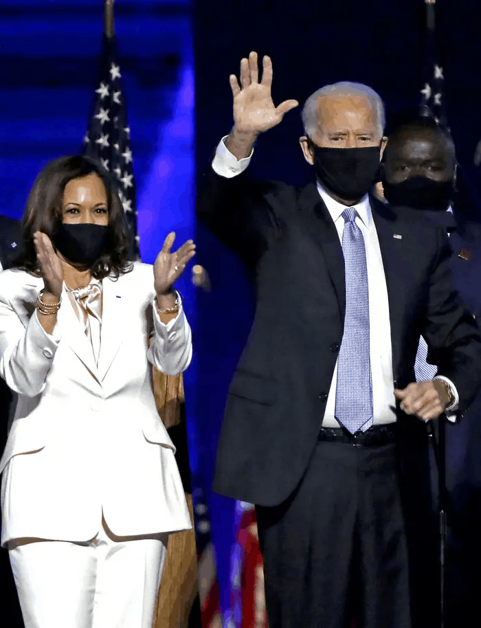 Douglas Emhoff, Vice-President-elect Kamal Harris, President-elect Joe Biden and Dr. Jill Biden wave to supporters after defeating Donald Trump in the 2020 U.S. Presidential election on Saturday, Nov.7 , 2020 in Wilmington, DE