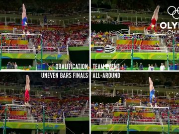 All of Aliya Mustafina's Uneven Bars routines, at the same time!   Olympic Memories