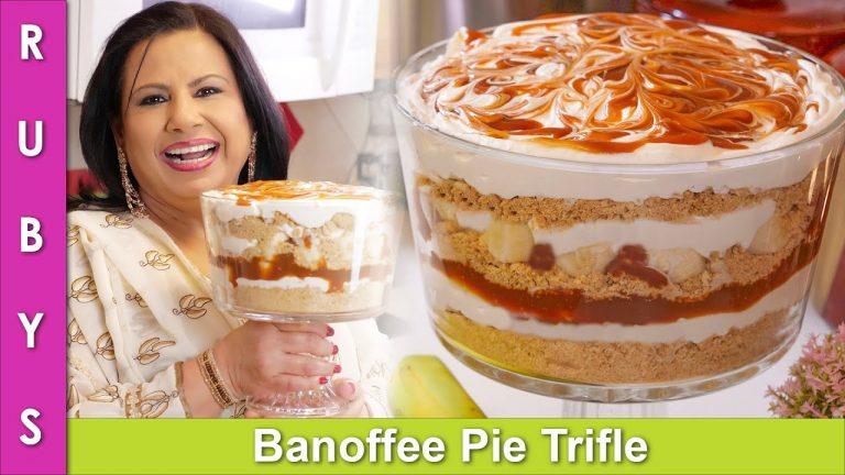 Banoffee Pie Trifle with Homemade Carmel without Condensed Milk Recipe in Urdu Hindi - RKK