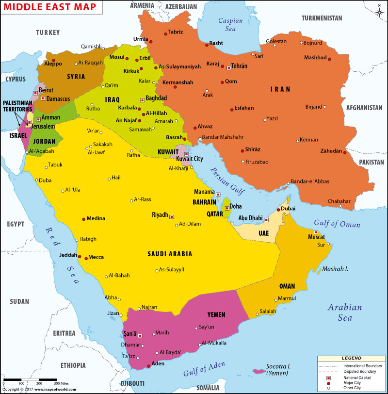 Map of Middle East in 2020 | Middle east map, Asia map, East asia map