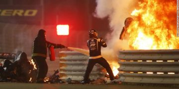 Formula One driver Romain Grosjean was involved in a horrific crash 2